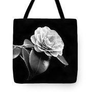 Camellia Flower In Black And White Tote Bag