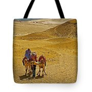 Camels Nuzzling On The Giza Plateau-egypt  Tote Bag