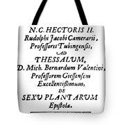 Camerarius Title Page, 1694 Tote Bag