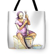 Cameroon Woman Grinding Plantain Bananas Tote Bag