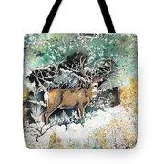 Camouflaged Mule Deer Buck In Winter Tote Bag