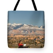 Camping With Laptop Tote Bag