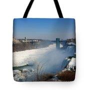 Canada And America At Niagara Falls Tote Bag