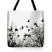 Canada Geese Flight Silhouette Tote Bag