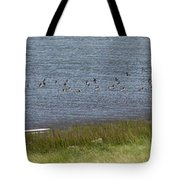 Canada Geese Panorama-signed-8x38 Tote Bag