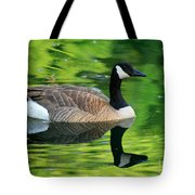 Canada Goose On Green Pond Tote Bag