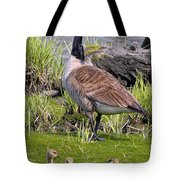 Canada Goose With Young Tote Bag