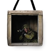 Canadian Army Soldier Conducts Military Tote Bag by Stocktrek Images