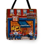Canadian  Artists Paint Hockey And Montreal Streetscenes Over 500 Prints Available  Tote Bag