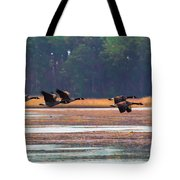Canadian Geese In Flight Tote Bag