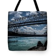 Canadian Tranfer Under Blue Water Bridges Tote Bag