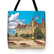 Canadian War Memorial And Chateau Laurier In Ottawa-ontario  Tote Bag