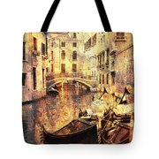 Canal And Docked Gondolas In Venice Tote Bag