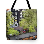 Canal Houses And Houseboat In Amsterdam Tote Bag