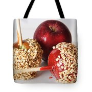 Candied Caramel And Regular Red Apple Tote Bag