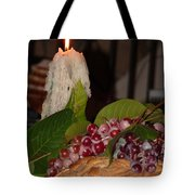 Candle And Grapes Tote Bag by Marcia Socolik