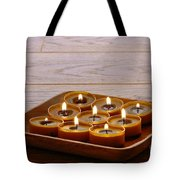 Candles In Wood Tray Tote Bag
