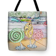 Candy Bike Rack In Colored Pencil Tote Bag