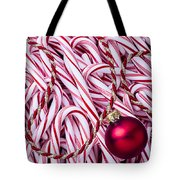 Candy Cane And Red Ornament Tote Bag