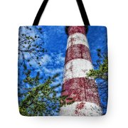 Candy Cane Lighthouse Tote Bag