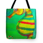 Candy Cane Seahorse Tote Bag