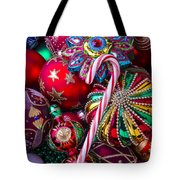 Candy Canes And Colorful Ornaments Tote Bag