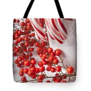 Candy Canes And Red Berries Tote Bag
