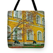 Cannon And Tulips Inside Kremlin In Moscow-russia Tote Bag