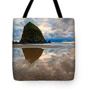 Cannon Beach With Storm Clouds In Oregon Coast Tote Bag