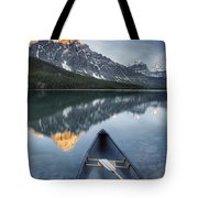 Canoe At Lower Waterfowl Lake With Tote Bag