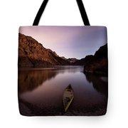 Canoe In Lake Near Shore, Arizona Tote Bag