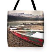 Canoe On Misty Fall Morning, Maligne Tote Bag