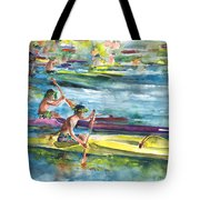 Canoe Race In Polynesia Tote Bag