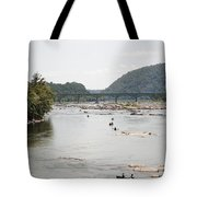 Canoeing On The Potomac River At Harpers Ferry Tote Bag