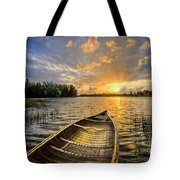 Canoeing At Sunrise Tote Bag