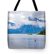 Canoeing In Colter Bay In Grand Teton National Park-wyoming Tote Bag