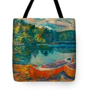 Canoes At Mountain Lake Tote Bag