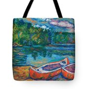 Canoes At Mountain Lake Sketch Tote Bag