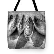 Canoes In Black And White Tote Bag