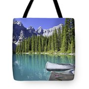 Canoes In Moraine Lake And Valley Of Tote Bag