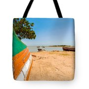Canoes On A Lakeshore Tote Bag