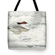 Canvasback Duck In Flight Tote Bag