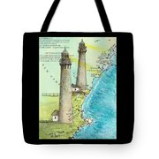 Cape Ann Twin Lighthouses Ma Nautical Chart Map Art Cathy Peek Tote Bag