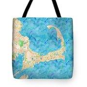 Cape Cod Watercolor Map Tote Bag