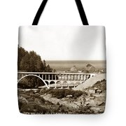 Cape Creek Bridge And Heceta Oregon Head Lighthouse  Circa1933 Tote Bag