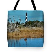 Cape Hatteras Lighthouse Deer In Pond 1 3/01 Tote Bag