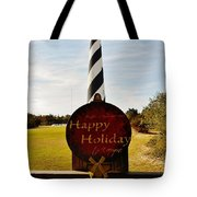 Cape Hatteras Lighthouse Happy Holiday 1 12/7 Tote Bag