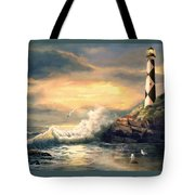 Cape Lookout Lighthouse North Carolina At Sunset  Tote Bag