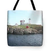 Cape Neddick Light On A Misty Morning Tote Bag