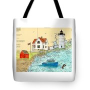Cape Neddick Lighthouse Me Nautical Chart Map Art Cathy Peek Tote Bag